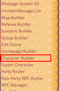 Referee Menu, with the Character Builder highlighted.